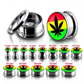 Oceľový tunel plug do ucha, marihuana a rasta farby - Hrúbka: 10 mm