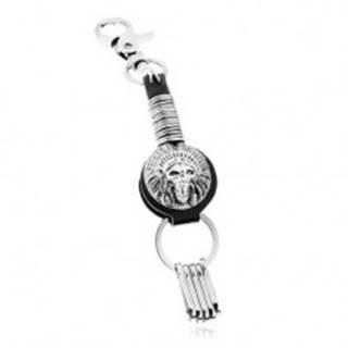 Patinovaný prívesok na kľúče, symbol indiánskej čelenky s lebkou, kruhy