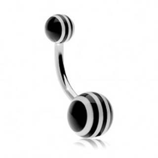 Piercing do brucha z ocele 316L, guličky s čierno-bielymi pásikmi - Farba piercing: Čierna