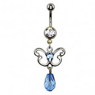 Piercing do bruška - obrys motýľa, modrý zirkón a korálka