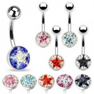 Piercing do pupka - malé farebné zirkóny, hviezda - Farba zirkónu: Aqua - číra