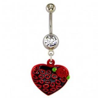 Piercing do pupku - čierno červené srdce a krúžky, ružička