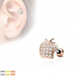 Piercing do tragusu z chirurgickej ocele, jablko s čírymi zirkónmi - Farba piercing: Medená