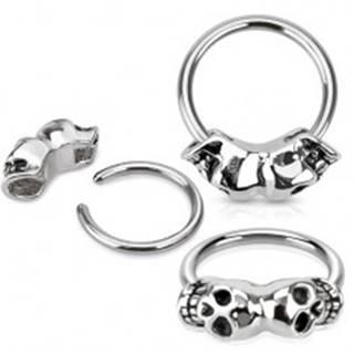 Piercing z chirurgickej ocele, lesklý krúžok, dve patinované lebky - Hrúbka piercingu: 1,2 mm