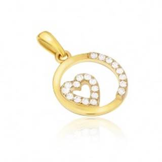 Prívesok zo žltého 14K zlata - okrúhly rámček, zirkónové srdce, kamienky