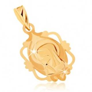 Prívesok zo žltého 9K zlata - medailón s Pannou Máriou v ozdobnom ráme
