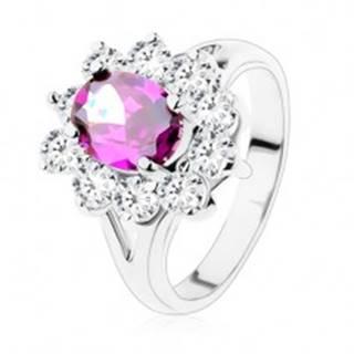 Prsteň s rozdelenými ramenami, fialový ovál s trblietavou zirkónovou obrubou - Veľkosť: 48 mm