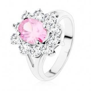 Prsteň s rozdvojenými ramenami, ružový zirkónový ovál, číre lemovanie - Veľkosť: 48 mm