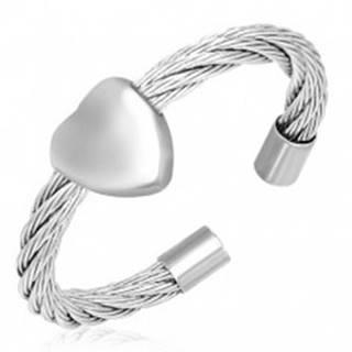 Prsteň so srdcom - točený oceľový drôt - Veľkosť: 55 mm