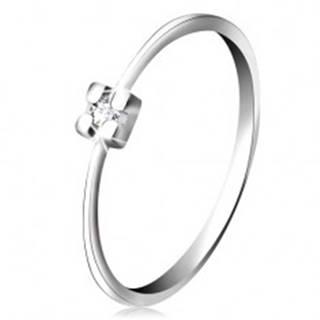Prsteň v bielom 14K zlate - diamant čírej farby v hranatom kotlíku - Veľkosť: 49 mm