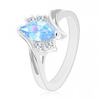 Prsteň v striebornom odtieni so zahnutými ramenami, modré zirkónové zrnko - Veľkosť: 49 mm