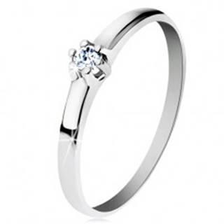 Prsteň z bieleho 14K zlata - lesklé hladké ramená, žiarivý číry diamant - Veľkosť: 49 mm
