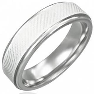 Prsteň z chirurgickej ocele - diagonálne línie - Veľkosť: 54 mm
