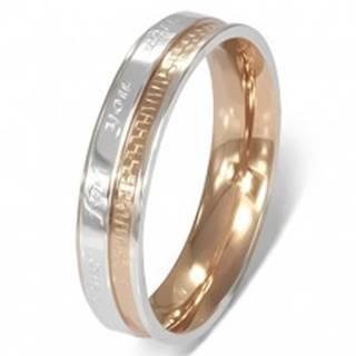 Prsteň z chirurgickej ocele - romantický nápis, dvojfarebný - Veľkosť: 49 mm