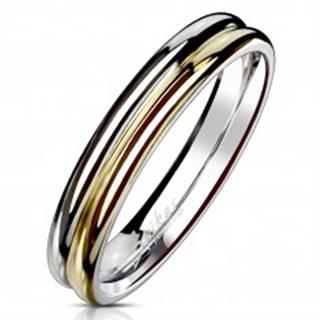 Prsteň z ocele 316L - dvojfarebná obrúčka so zárezom v strede, 4 mm - Veľkosť: 49 mm