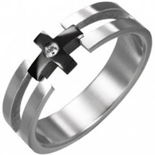 Prsteň z ocele - čierny kríž, číry zirkón - Veľkosť: 49 mm
