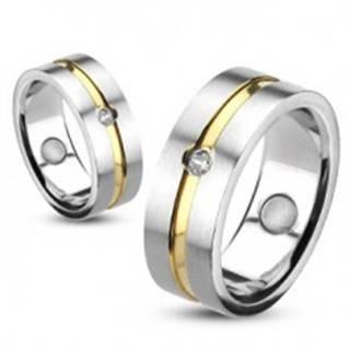 Prsteň z ocele so zlatou líniou a vsadeným zirkónom - Veľkosť: 48 mm