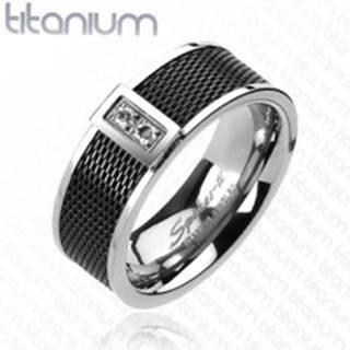 Prsteň z titánu - čierny sieťovaný vzor, dva číre zirkóny - Veľkosť: 59 mm