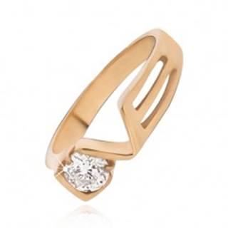 Prsteň zlatej farby z ocele s čírym zirkónom, LOVE - Veľkosť: 49 mm