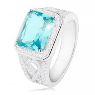 Strieborný 925 prsteň, ramená s ornamentom, svetlomodrý zirkón, číra obruba - Veľkosť: 50 mm