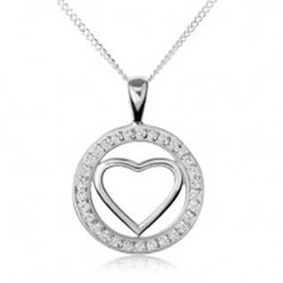Strieborný náhrdelník 925, lesklá kontúra srdca v zirkónovej obruči