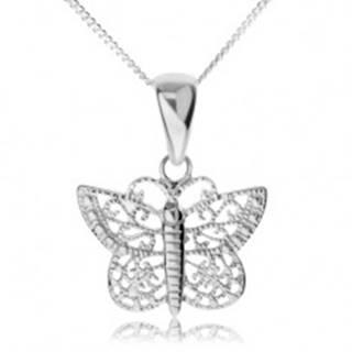 Strieborný náhrdelník 925, ligotavý motýľ s filigránovými krídlami