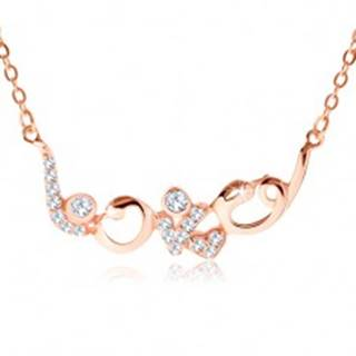 """Strieborný náhrdelník 925 medenej farby, ligotavý nápis """"love"""", zirkóny"""