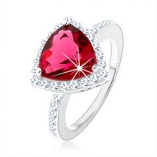 Strieborný prsteň 925, trojuholník, ružový zirkón, ligotavý lem, výrezy - Veľkosť: 48 mm