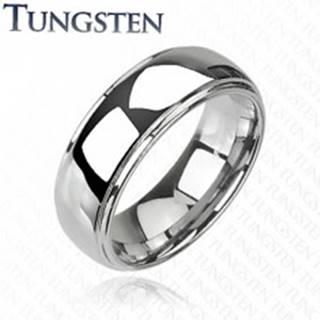 Wolfrámový prsteň s vyvýšeným stredom, zrkadlový lesk, 8 mm - Veľkosť: 49 mm