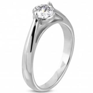 Zásnubný prsteň, oceľ 316L striebornej farby, číry zirkón, zaoblené ramená - Veľkosť: 49 mm