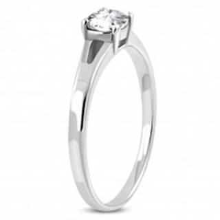 Zásnubný prsteň z chirurgickej ocele, strieborná farba, číry zirkón, rozdelené ramená - Veľkosť: 51 mm
