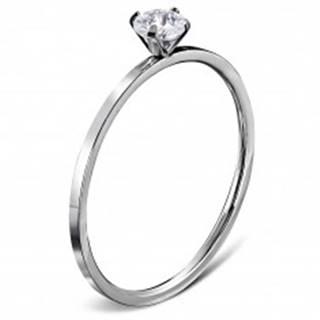 Zásnubný prsteň z ocele 316L striebornej farby, okrúhly číry zirkón - Veľkosť: 49 mm
