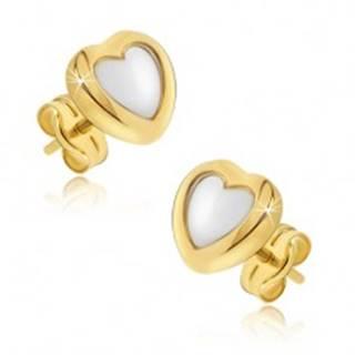 Zlaté náušnice 585 - dvojfarebné pravidelné srdcia, lesklý zaoblený povrch