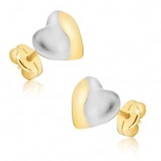 Zlaté náušnice 585 - dvojfarebné symetrické srdcia, puzetky