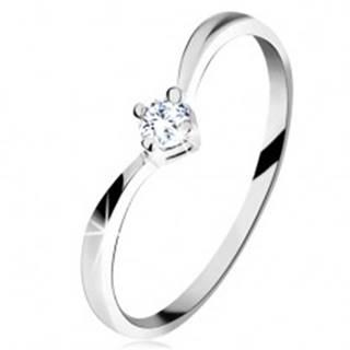 Zlatý prsteň 585 - lesklé zahnuté ramená, ligotavý brúsený diamant čírej farby - Veľkosť: 49 mm