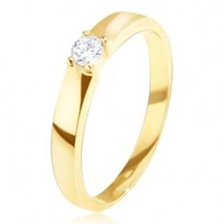 Zlatý prsteň 585 - lesklý, hladký, okrúhly číry zirkón v kotlíku - Veľkosť: 49 mm