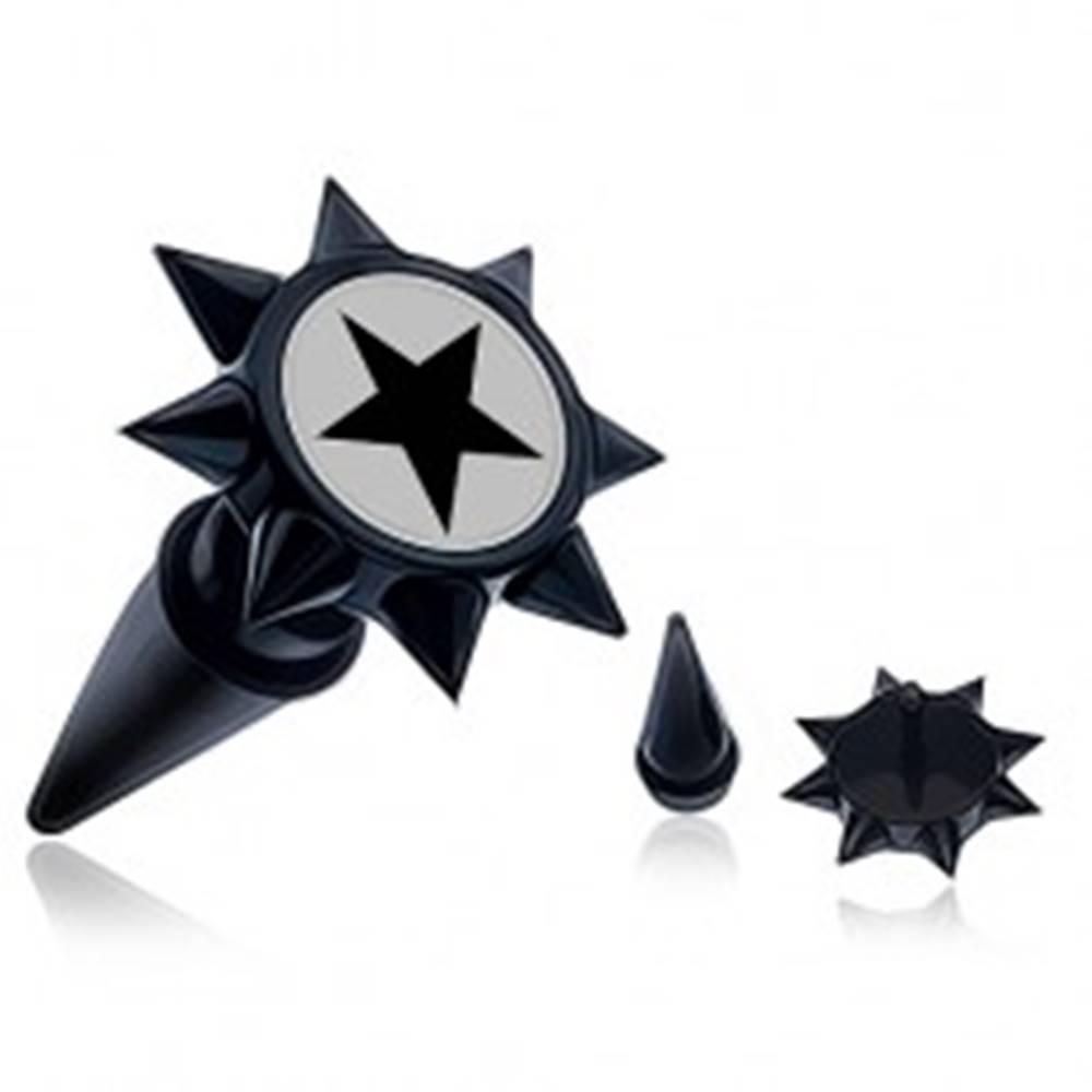 Šperky eshop Čierny fake taper do ucha s ostňami a čiernou hviezdou