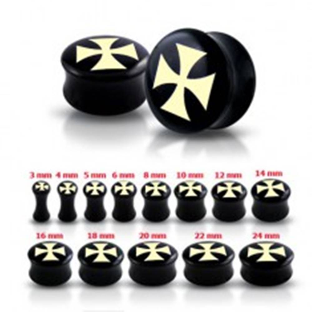 Šperky eshop Čierny sedlový plug do ucha s maltézskym krížom - Hrúbka: 10 mm