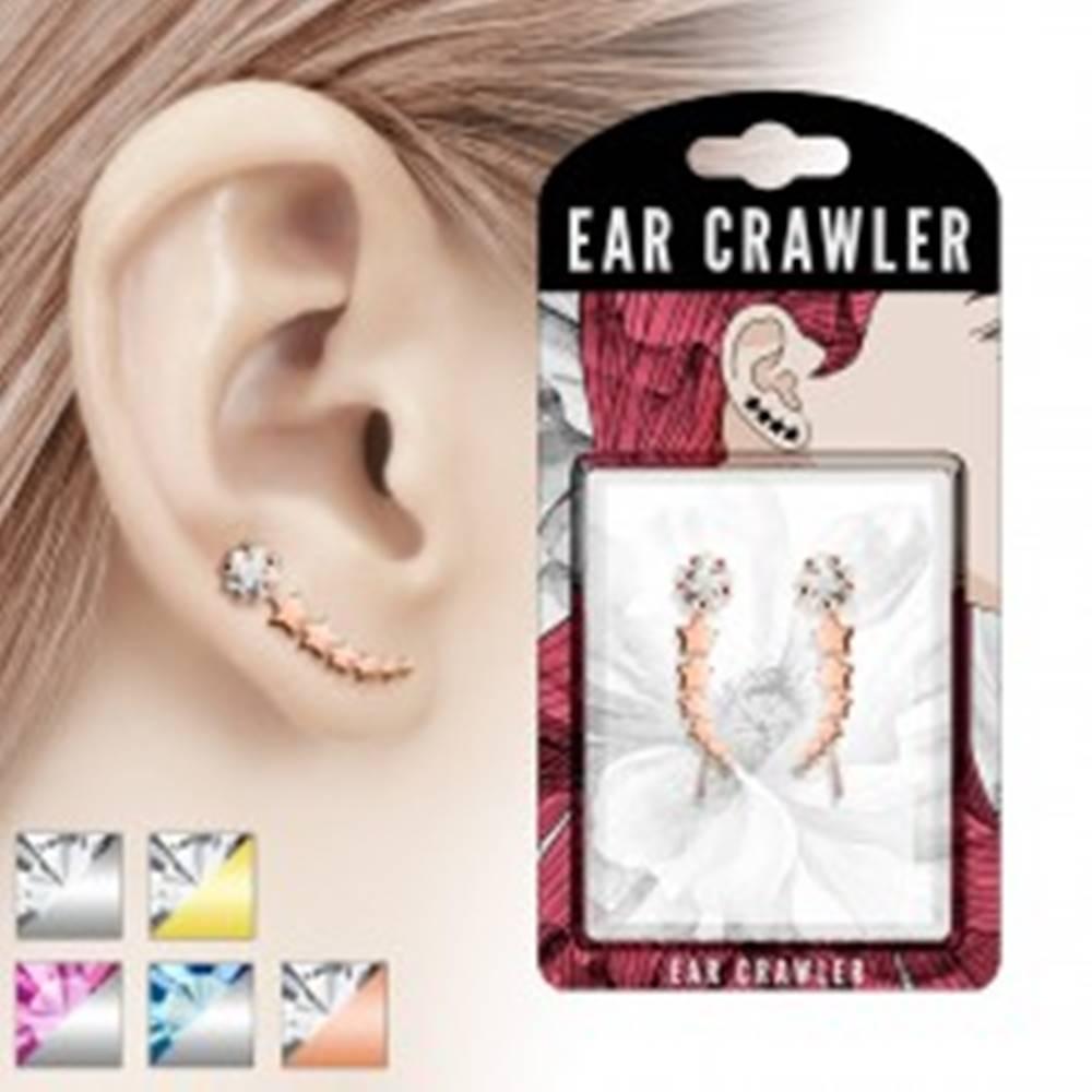 Šperky eshop Crawler náušnice - oblúk z hviezdičiek a brúsený zirkón - Farba: Medená - číra