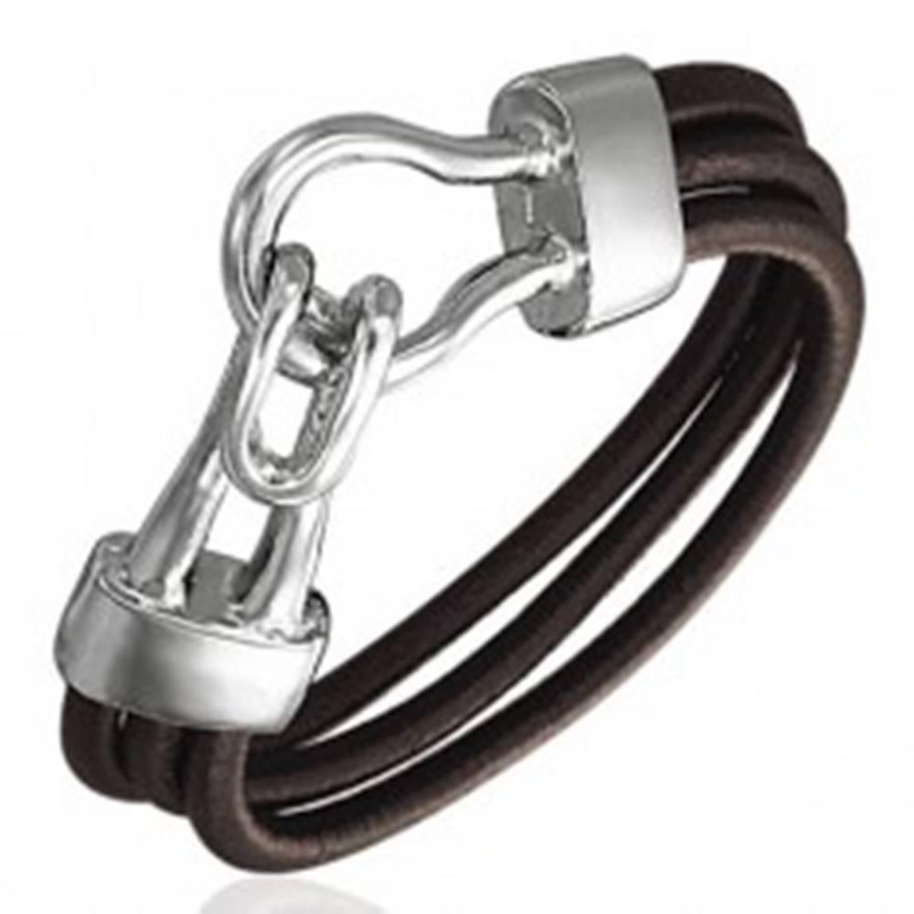 Šperky eshop Gumený náramok - tri hnedé okrúhle šnúrky, zdvojený hák