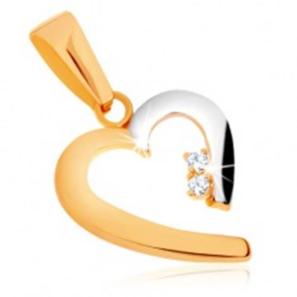 Šperky eshop Lesklý prívesok v 9K zlate - dvojfarebný obrys neúplného srdca, zirkóny