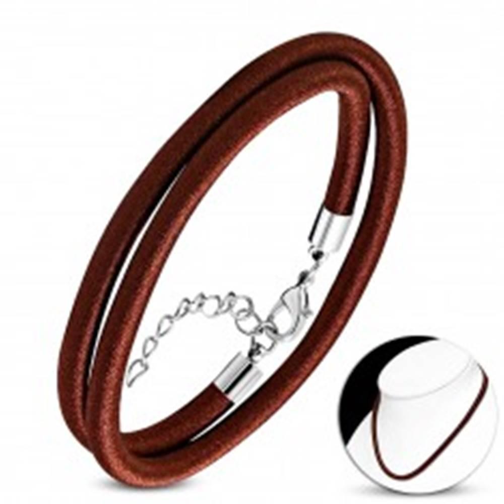 Šperky eshop Náhrdelník obtočený lesklou niťou čokoládovohnedej farby, karabínka