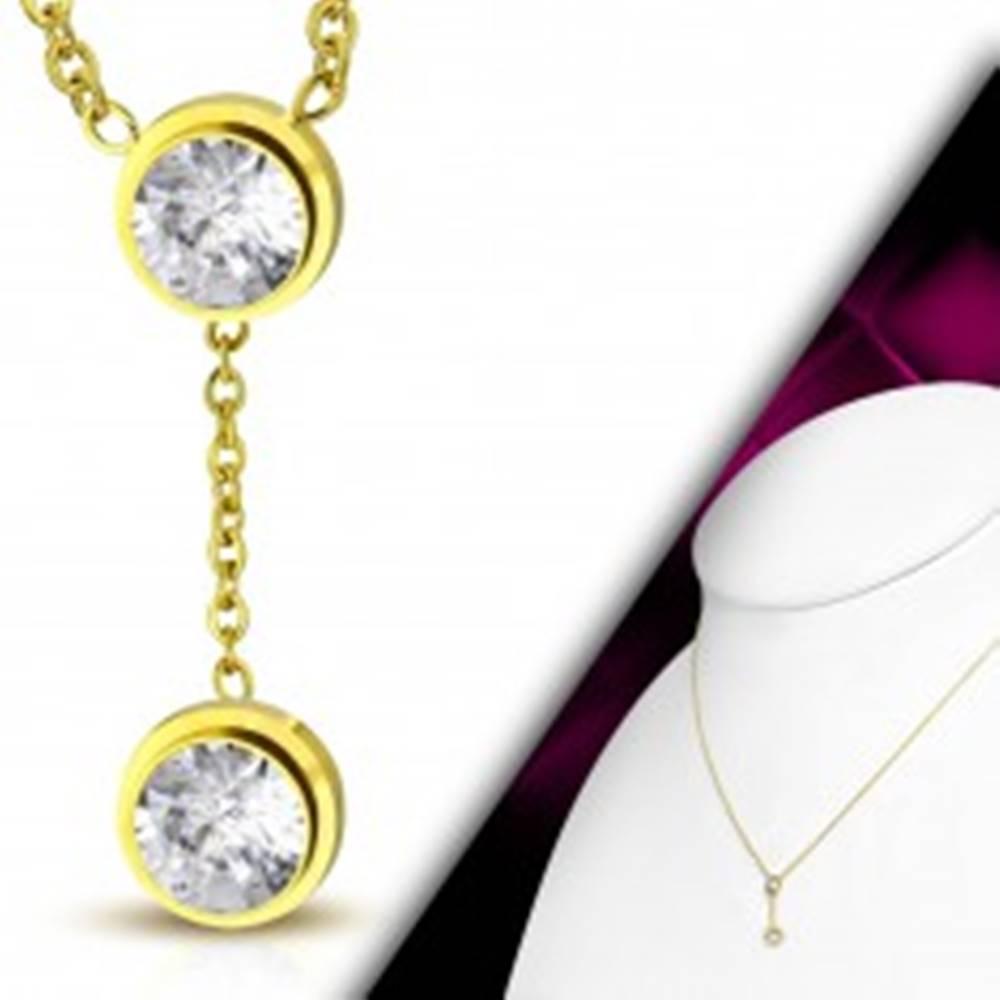 Šperky eshop Náhrdelník zlatej farby, oceľ 316L, jemná retiazka, dva číre zirkóny v objímkach