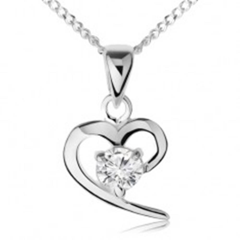 Šperky eshop Náhrdelník zo striebra 925, obrys asymetrického srdca, číry zirkón