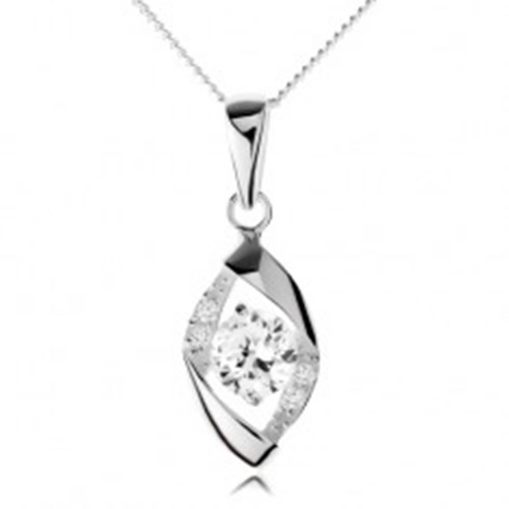 Šperky eshop Náhrdelník zo striebra 925, obrys kosoštvorca s oblými hranami, zirkón