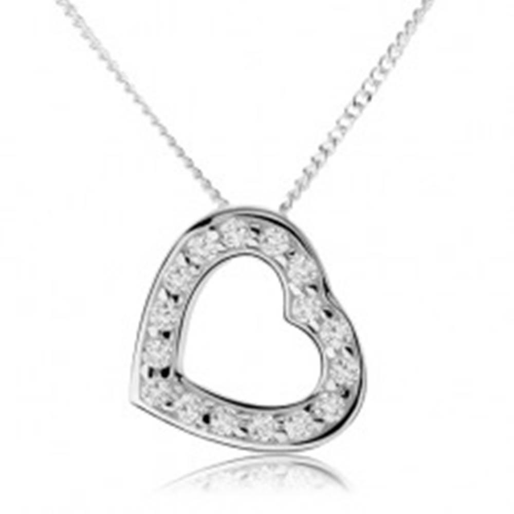 Šperky eshop Náhrdelník zo striebra 925, obrys súmerného srdiečka, číre zirkóny
