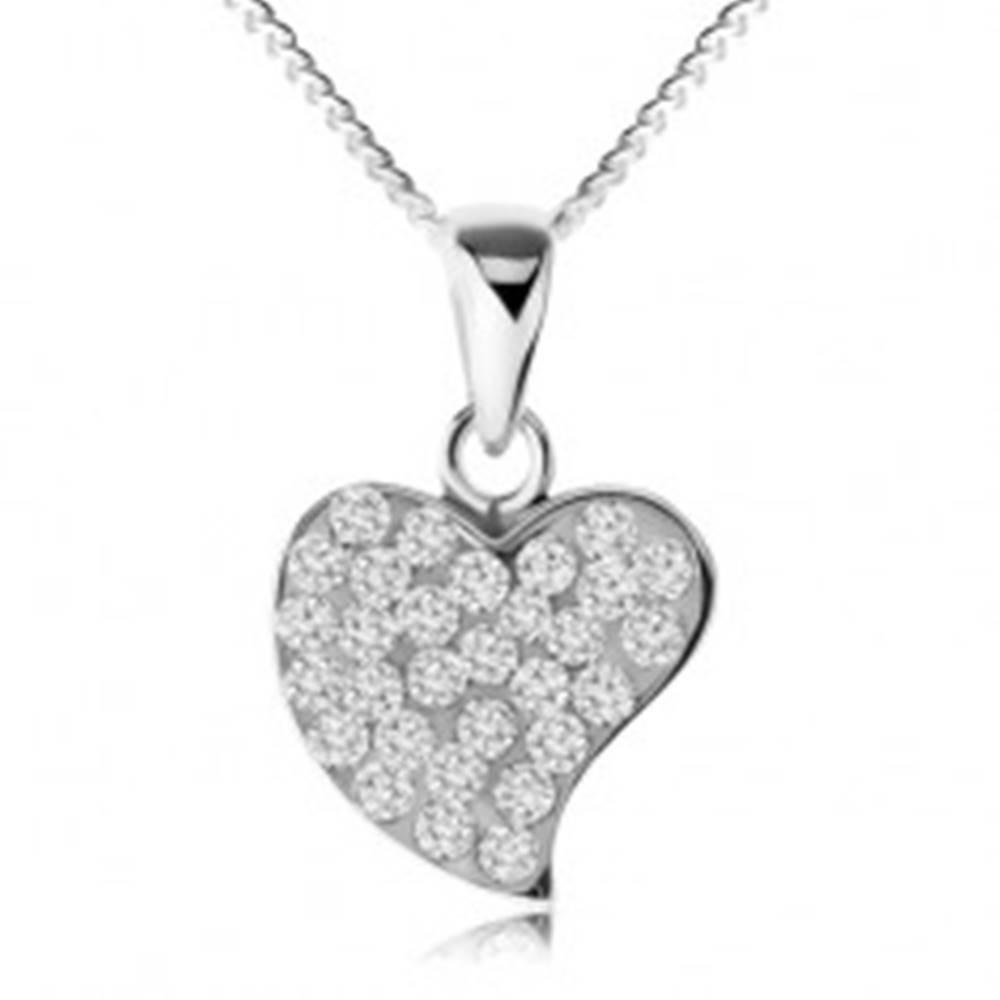 Šperky eshop Náhrdelník zo striebra 925, trblietavé nepravidelné srdce, číre zirkóny