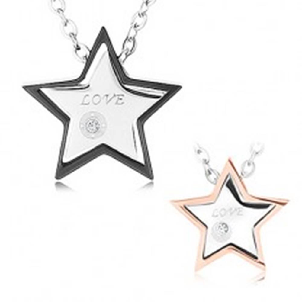 "Šperky eshop Náhrdelníky z chirurgickej ocele, päťcípe hviezdičky, zirkón čírej farby, ""LOVE"""