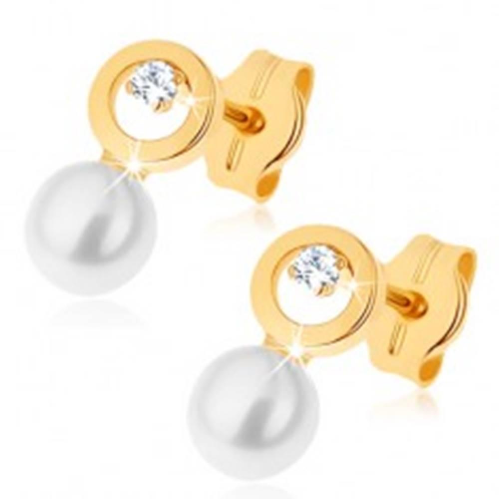 Šperky eshop Náušnice v žltom 9K zlate - kontúra kruhu s čírym zirkónikom, biela perla
