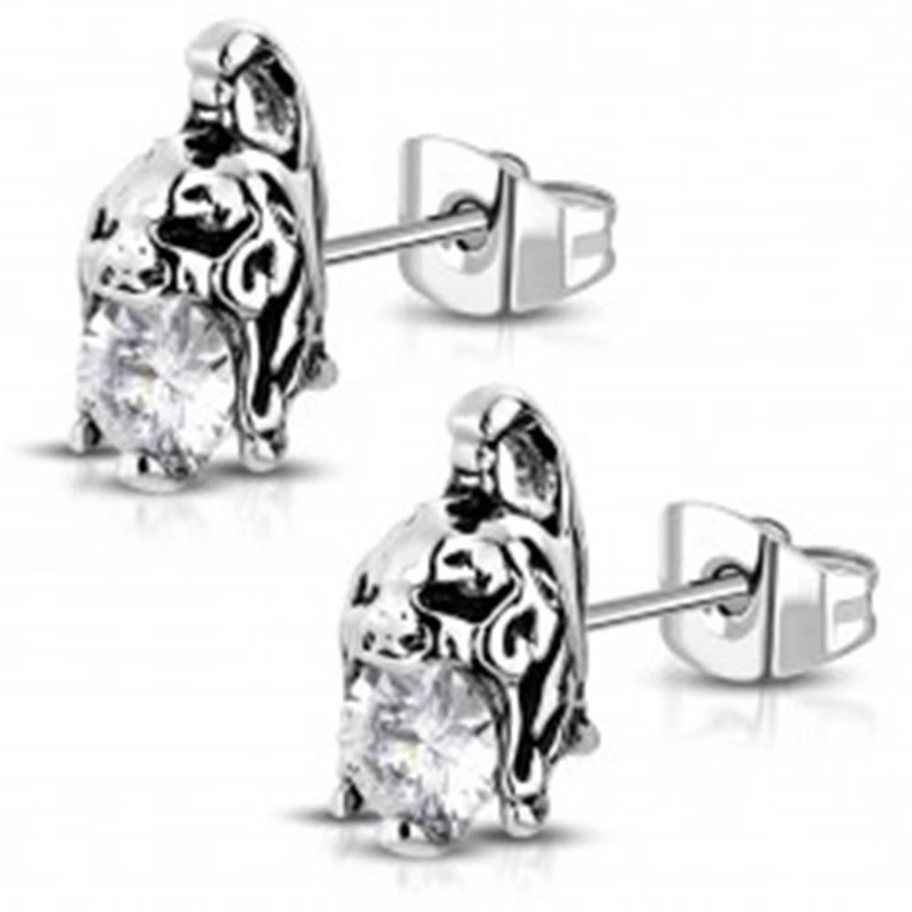 Šperky eshop Náušnice z chirurgickej ocele - helma bojovníka s čírym zirkónom, patina